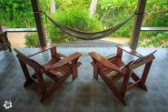 Spacious balcony with garden views